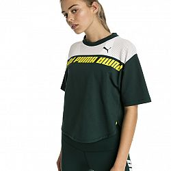 PUMA Zelený crop top Modern Sports Sweat Tee – S